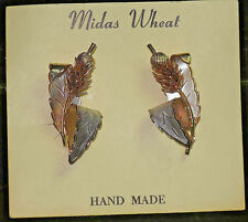 VINTAGE MIDAS WHEAT CLIP EARRINGS HAND MADE