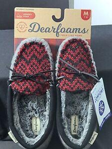 Dearfoams Womens Felt and Fairisle Moccasin Style Slippers- Sz Medium 7 -8, Grey