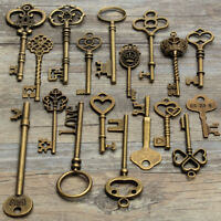 18 Assorted Antique Retro Large Skeleton Keys Bronze Steampunk Pendant Decor