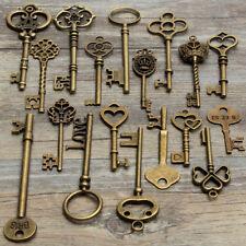 18 Assorted Antique Retro Large Skeleton Keys Bronze Steampunk Pendant Decor