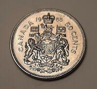 1968 Canada 50 Cents Coin (100% Nickel) - Queen Elizabeth II