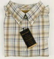 NWT Gold Label Roundtree Yorke Blue Tan Plaid LS Men Shirt Big Tall 2XT 2XB 3XB
