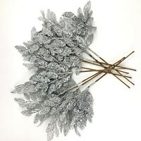 Holiday Lane Silve Glitter Leaves Decor Holiday Christmas Tree Ornament Lot of 9