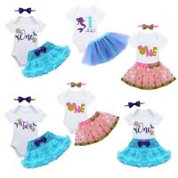 Baby Girls Casual Outfit Toddler Birthday Romper Dress Tutu Skirt Headband Party