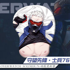 Game Mouse pad Overwatch SOLDIER:76 3D Breast Silicone PlayMat Wrist Rest New