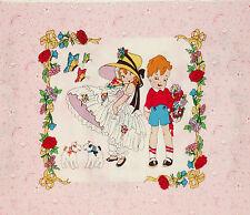 """26"""" x 44"""" Panel 24 Blocks Retro BE MINE Fancy Kid Dressup Vintage Children Pink"""