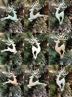 Gisela Graham Gold white Green Blue Glitter Reindeer Christmas Tree Decoration