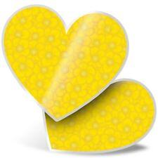 2 x Heart Stickers 7.5 cm - Cute Yellow Buttercup Flower  #3153
