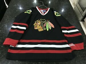 CCM CHICAGO BLACKHAWKS BLACK ICE HOCKEY NHL JERSEY LARGE