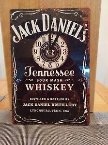 JACK DANIELS WALL CLOCK  GREAT FOR HOME BAR, MAN CAVE  HOME PUB TIN CLOCK