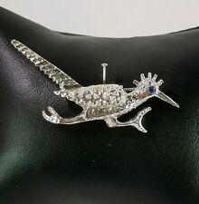 Ladies Vintage SilverTone Road Runner bird design Brooch Pin