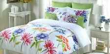 CYNTHIA ROWLEY BRIGHT FLORAL PINK LIME GREEN PURPLE FULL QUEEN DUVET COVER SET