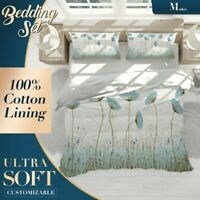 Stamen Grass Floral Flowers Blue Quilt Cover Doona Duvet Cover w 2 Pillowcases