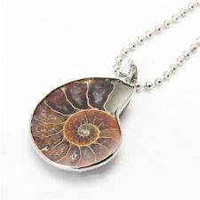 1PC Natural Ammonite Shell Fossil Stone Charm Pendant Deco DIY Gift