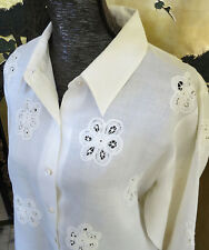 Poetic Plus White Top Long Sleeve Blouse Size 16 Lace Cutouts 100% Ramie