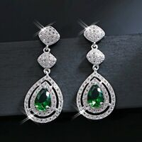 18K White Gold Filled Created Crystal Stunning Water Drop Halo Formal Earrings