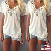 Womens Summer Casual Short Sleeve V Neck Tank Top Lady Loose Cotton Blouse Shirt