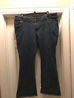 Women's Lane Bryant Blue Jeans 24 Petite Slim Boot Cut Genius Fit Dark Wash
