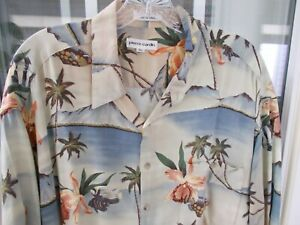 Men's PIERRE CARDIN XL Hawaiian Shirt w/ Pocket Large