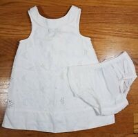 Janie and Jack ~ White Eyelet Dress & Bloomers ~ 6-12 Months ~ 100% Cotton ~ EUC