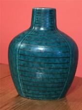 Gustavsberg Argenta Swedish Pottery Vase Green Silver inlaid 15cm
