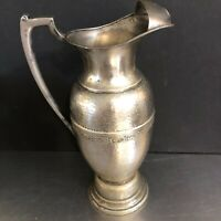 Hammered Aluminum Water Pitcher Ewer Urn Ice Guard Mid Century Modern Dining