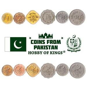 SET OF 6 COINS FROM PAKISTAN: 1, 2, 5, 10, 25, 50 PAISA. 1963-1969