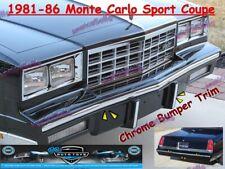 81 82 83 84 85 86 CHEVY MONTE CARLO SPORT COUPE CHROME BUMPER TRIM MOLDING