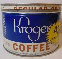 Old Vintage 1950s Kroger Coffee KEYWIND COFFEE TIN ONE 1 POUND COFFEE TIN CAN