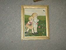 "Antique Hand Stitched Tapestry Petit Point 7""x9"" Pictorial Kids"