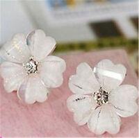 Pretty white resin plum flower stud earrings w/ crystal