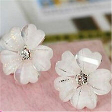Pretty white resin plum flower stud earrings w/ crystal