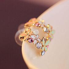 HIGH 1 Pair Hot Fashion Womens Lady Elegant Crystal Rhinestone Ear Stud Earring