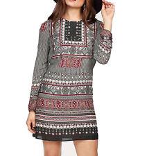 genial Hippie Ethno bunt gemustert DRUCK KLEID Sommerkleid MINI Tunika Gr.38 M