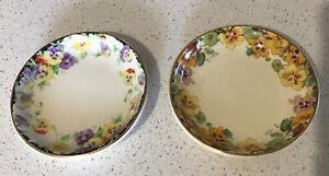"Vintage Royal Doulton Butter/Pin Dishes, ""WILD PANSY"" & ""NASURTIUM"" 1930/40s Eng"