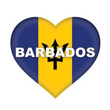 2 x Barbados Heart Flag, car, van decal sticker