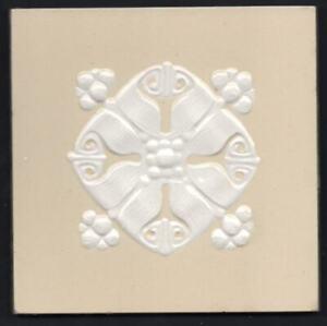 Original c1900 German jugendstil Villeroy & Boch Art Nouveau Majolica tile cream