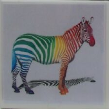 Natural Stone Ceramic Tile Marble Drink Coasters - Set of 4 - Rainbow Zebras 1 H