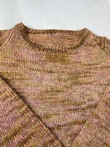 Women's Hand Knit Wool Sweater XL Soft Crew Neck Brown Pink