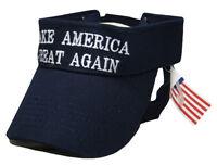 Make America Great Again Trump Navy Blue Visor White Letter Adjustable Visor hat