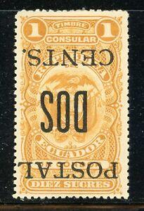 ECUADOR MH Selections: BERTOSSA #211.1 2c/10S INVERTED SCHG $$$