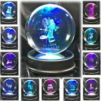 """Amlong Crystal 3"""" (80mm) Zodiac Astrology Crystal Ball with Light Stand"""