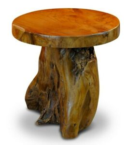 Root Wood Table 15 11/16in Wood Side Table Tree Trunk Wooden Table Podium Rustic