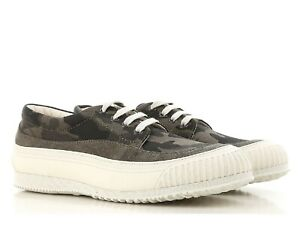 Hogan Men's fashion low top sneakers shoes in camouflage fabric and white sole