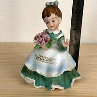 Vintage Lefton Porcelain January Birthday Girl Figurine
