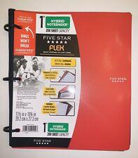 """Five Star 1"""" Binder Red Hybrid Notebook Flex Paper School Office College"""