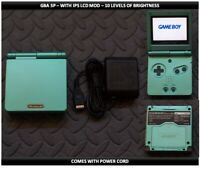 Nintendo Game Boy Advance GBA SP IPS MOD System 10 Level Brightness - Green
