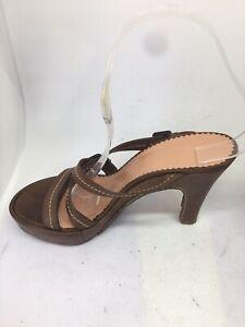 charles jourdan Ladies brown Slip On leather sandals Size 5 (BT29)