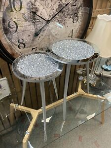 Set Of 2 Side Tables Mirror Crushed Crystal Set Silver Wood Finish