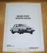 VOLVO 244DL ROAD TEST REPRINT VOLVO PUBLICITY HANDOUT MOTOR January 3 1981